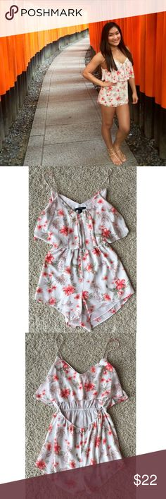 Forever 21 Floral Boho Cutout Flounce Romper Small Forever 21 floral Romper in size small. Has a cute open back cutout. Non-adjustable straps. Double lined with elastic waist. Please see photos for measurements. So adorable for summer! Worn a few times. Forever 21 Dresses