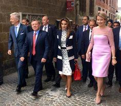 Queen Mathilde of Belgium, King Philippe - Filip of Belgium, King Abdullah II of Jordan and Queen Rania of Jordan visited Bruges as part of Jordan royal couple's state visit to Belgium on May 19, 2016 in Bruges.