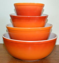 Check out the Vintage Pyrex Flameglow Mixing Bowl Set in Kitchenware, Mixing Bowls from Atomic House Market for Pyrex Vintage, Vintage Dinnerware, Vintage Bowls, Vintage Kitchenware, Vintage Dishes, Vintage Glassware, Pyrex Mixing Bowls, Pyrex Bowls, Pyrex Set