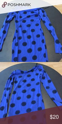 Indigo polka dot bodycon dress. Barely worn Indigo tight and stretchy bodycon dress with polka dots. Long-sleeved Forever 21 Dresses Long Sleeve