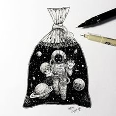 Little man have been trapped in plastic bag like marine animals. - Little man have been trapped in plastic bag like marine animals. Space Drawings, Pencil Art Drawings, Art Drawings Sketches, Easy Drawings, Doodle Art, 3d Artwork, Fantasy Artwork, Illustration Tutorial, Stylo Art