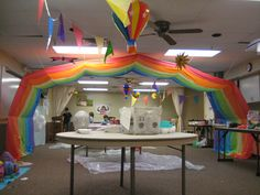 Bridging Ceremony Decor (plastic tablecloths used for rainbow) on a small scale this could work too Tablecloth Decorations, Luau Decorations, Girl Scout Leader, Girl Scout Troop, Vbs Crafts, Crafts For Kids, Girl Scout Bridging, Music Themed Parties, Girl Scout Juniors