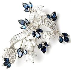 CARTIER VINTAGE DIAMOND & BLUE SAPPHIRE BROOCH PIN SOLID PLATINUM #DiamondBrooches #DiamondJewelry