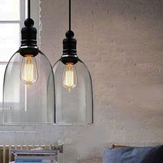 winsoon ecopower 1pc 59 x 9 inch light vintage hanging big bell glass shade ceiling lamp arteriors soho industrial style pendant light fixture