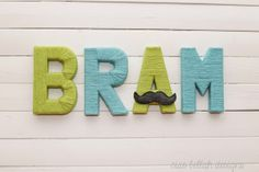 Yarn Wrapped Letters - Sets of 3 to 5 - ABCs Baby Gift - Nursery Decor - Boy Baby Shower Decor - green, robin's egg blue, with mustache