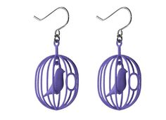 Earrings This Happy Bird earrings can only be produced using printing technology. Take a close look: the bird and its hinged swing are printed right inside the cage – no post-production assembly is necessary. Polka Dot Earrings, Bird Earrings, Bird Necklace, Purple Earrings, Bird Jewelry, Jewelry Model, Jewelry Design, Designer Jewelry, Modern Jewelry
