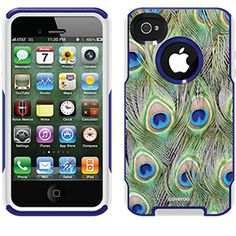 Peacock Feather Animal Prints design on OtterBox® Commuter Series® Case for iPhone 4 / 4S in Black