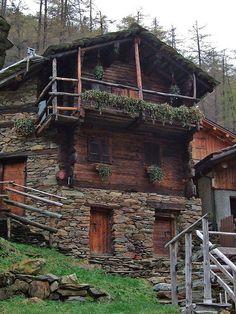 A very, very old Alpine chalet, Zermatt, Switzerland.