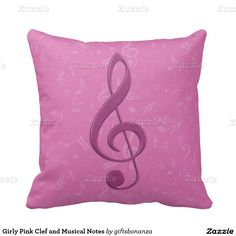 Girly Pink Clef and Musical Notes Cushions