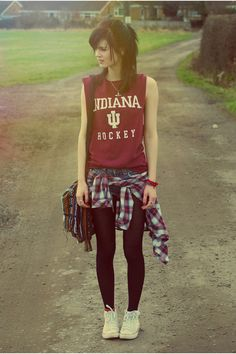 """Ruby Red Vintage Shirts, Blue DIY Denim Shorts, White Converse Sneakers 