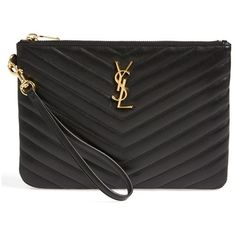 Women's Saint Laurent 'Monogramme' Zip Pouch (2.124.965 COP) ❤ liked on Polyvore featuring bags, handbags, clutches, ysl, yves saint laurent purses, chevron handbags, yves saint laurent, chevron purse and quilted purse