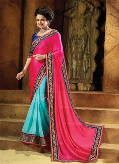 We unfurl our the intricacy and exclusivity of our creations highlighted with this appealing hot pink faux chiffon and georgette designer saree. Beautified with embroidered and patch border work all s...