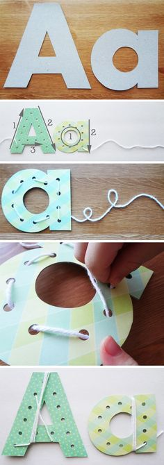 diy alphabet lacing cards to teach your child to write | what other non-pencil-writing methods are there for teaching writing skills to children? playdough letters, etc?