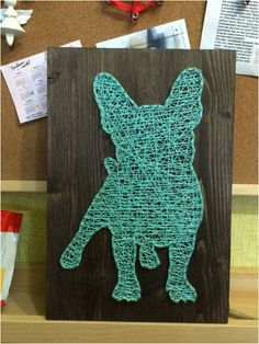 Strand art French bulldog turquoise wall art and home decor bulldogs, frenchie, dog, pet Murs Turquoise, Turquoise Wall Art, Turquoise Stone, Unique Wall Art, Diy Wall Art, String Art Diy, Disney String Art, String Art Templates, Primitive Candles