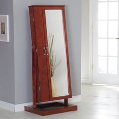 Bordeaux Cheval Mirror Jewelry Armoire
