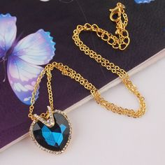 Beora 18k #Gold Plated #Blue #Crystal #Heart #Pendant #Necklace Chain By #Trendymela. Buy this at Rs.449.