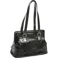 Jesselli Couture Croc Framed Satchel - Black - $176.00