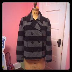 Striped peacoat Black and grey striped peacoat. Super warm and cozy. Wicked cute jacket. Great condition Jack by BB Dakota Jackets & Coats Pea Coats