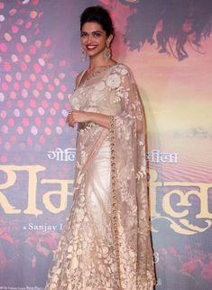 Designer Deepika Padukone Off White Saree In Net . Shop at - http://www.gravity-fashion.com/designer-deepika-padukone-off-white-saree-in-netgf7140377.html