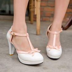 Plus Size Sweet Womens Vintage Lolita T-Strap Bow High Heel Platform Pumps Shoes