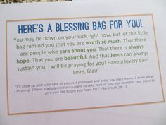 Blessing bags for the homeless, I think I'm going to put some of these together next week & keep them in my car.