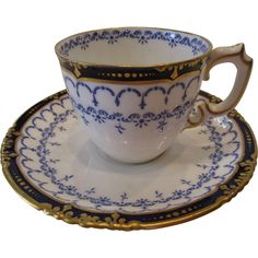 Antique Royal Crown Derby 1898 Demitasse Cup and Saucer