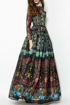 Colorful Vintage Print Maxi Voile Dress: Maxi Dresses If this wasn't so long, I would buy this. Its a beautiful dress but altering it would take away from that. Modele Hijab, Look Fashion, Womens Fashion, Trendy Fashion, Bohemian Mode, Estilo Boho, Print Chiffon, Chiffon Maxi, Mode Style