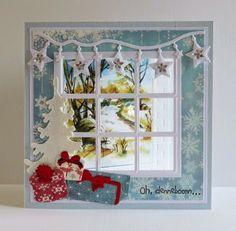 Kaarten & zo Chrismas Cards, Christmas Cards To Make, Xmas Cards, Christmas Tag, Christmas Arts And Crafts, Handmade Christmas, 3d Cards, Paper Cards, Christmas Staircase