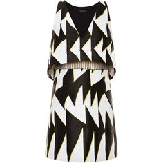 Thakoon Graphic Chevron Jacquard Beaded Waist Dress (32,270 MXN) ❤ liked on Polyvore featuring dresses, waist dress, low v neck dress, black dress, chevron striped dress and graphic print dress