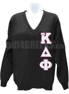 ALPHA KAPPA DELTA PHI V-NECK SWEATER WITH GREEK LETTERS, BLACK  Item Id: PRE-VSR-AKDF-BASIC-LTR-BLK    Price: $119.00