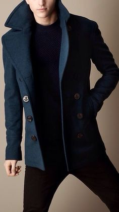 cool Men's Fashion. A perfect, tailored navy coat can be dressed up or rocked wit...