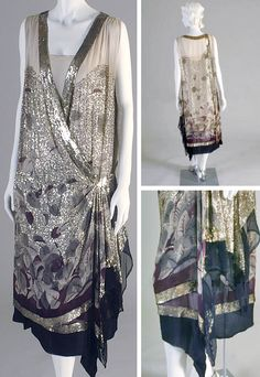 Evening dress, Lanvin (attr.), ca. 1925-28. Cream printed silk crepe dress with gray and black leaves and scattered with gold Alençon lace, kimono cut. Kent State Univ. Museum