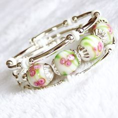 SALE Lampwork Beaded Memory Wire Bracelet was 35 by AssiaDesigns, $25.20