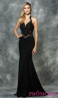 Long Prom Dress with Embroidered Illusion Bodice at PromGirl.com