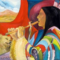 Flute Player with Traveling Companion ~ by Marilu Norden