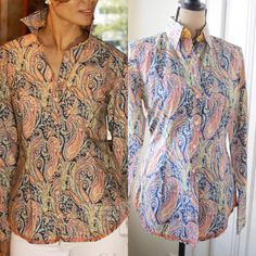 Georg Roth LA Designer Paisley Button Down Beautiful cotton button down by Georg Roth. Sold at Bellagio Hotel boutique in Vegas. Size XS and in excellent condition. Georg Roth Tops Button Down Shirts