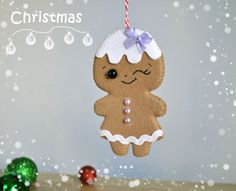 This Christmas ornaments made in style of ginger cookies with effect of glaze painting. You can use these ornaments to decorate your Christmas tree,