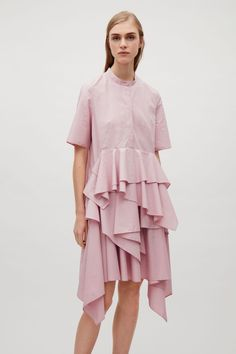 COS image 8 of Shirt dress with flared panels in Dusty Pink