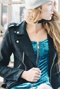 Blacksuede moto jacket #motorcycle #outerwear #cool #hip #womens #trendy #winter