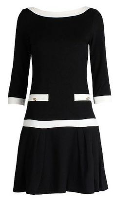 Black Boat Neck Three Quarter Length Sleeve Bandeau Dress