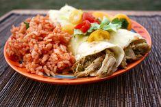 Make-ahead meals: Pork Chile Verde Enchiladas and Spanish Rice