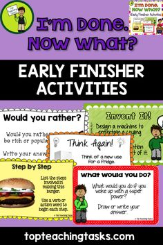 """These Early Finisher Task Cards are a great way to answer the common classroom question, """"I'm Done. Now What?"""" Engage your students with these great activities while building their creative thinking, sequencing, writing and cause and effect skills. This pack comes with both US and British spellings. In this pack you will receive 40 task cards focusing on creative thinking, sequencing, and cause and effect. Available from www.topteachingtasks.com"""