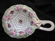 Antique Porcelain Hand Painted Roses Gold Trim Tea Strainer