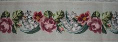 """NEEDLEPOINT CANVAS PINK ROSES THE FLOWERS ARE PRE DONE 7"""" X 59"""" in Crafts, Needlecrafts & Yarn, Needlepoint & Plastic Canvas   eBay"""