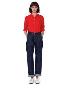 just add saddle shoes - Margaret Howell linen voile shirt
