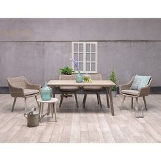 Garden Impressions Lucy tuinset 5-delig - Milis tuintafel 180x100 cm Wicker Outdoor Furniture Sets, Outdoor Decor, Wicker, Dining, Garden, Home Decor, Food, Garten, Lawn And Garden
