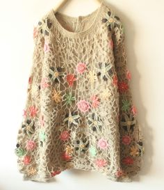 Floral crochet pullover