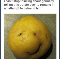 "Germany: ""Be my friend, Lovino"". Lovino: *Picks up potato. Barely smiles, then shakes his head and throws it back at Germany*. ""Get the fuck away from me, you potato loving bastardo~!"" *Goes off to vent to Toni~ <3*."