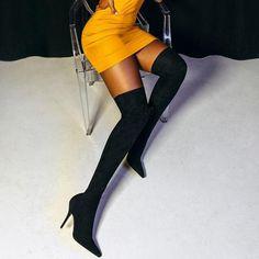 Thigh High Boots Heels, Socks And Heels, Black High Heels, Heeled Boots, Women's Boots, Long Boots, Sexy Boots, Knee Socks, High Socks