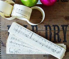 Paper Chain Kit Vintage Sheet Music Christmas DIY